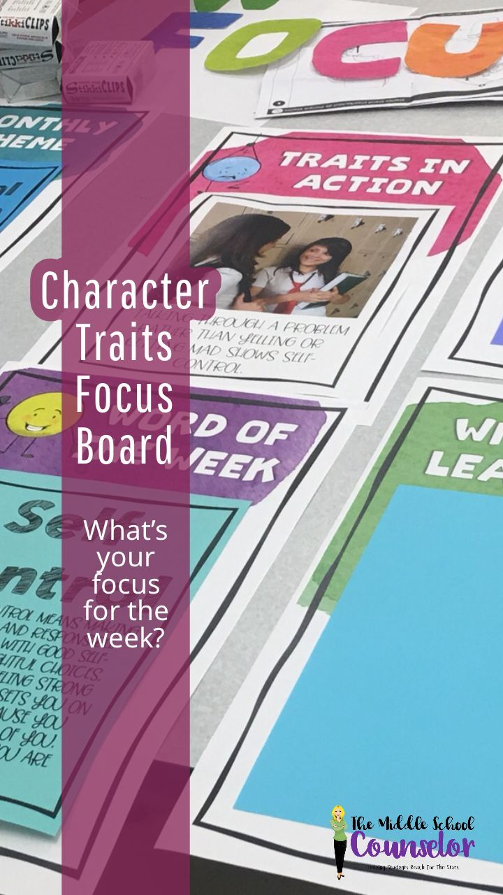 Character Traits Focus Board helps let students know key words and definitions.
