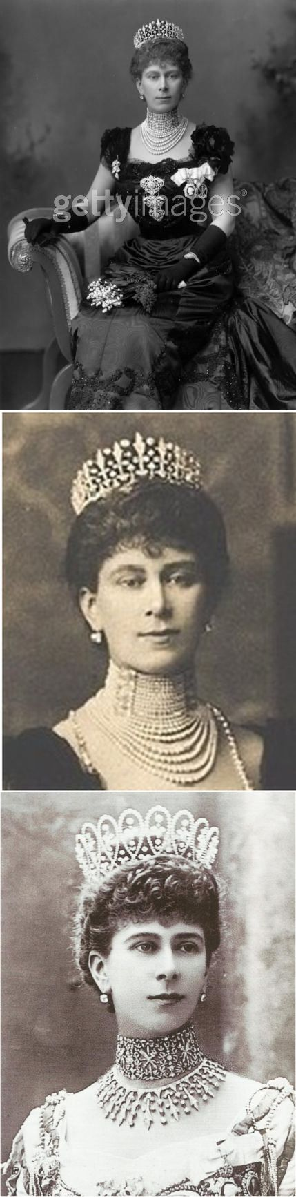 Surrey Fringe Tiara, a wedding gift given to Princess Mary of Teck (the future Queen Mary) by the County of Surrey -  modified fringe design.  Hasn't been seen since the early days of Mary's marriage.  Broken up in 1913/14 to make the Gloucester Honeysuckle tiara some stones going to enhance the Girls of Great Britain and Ireland tiara. Like most fringe tiaras, it could be worn as a necklace - bottom picture, where she's wearing the Loop tiara, itself broken up to create the Delhi Durbar…