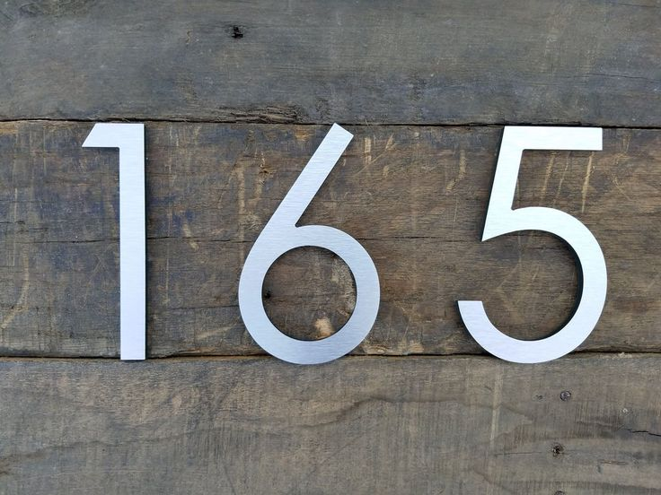 12 large modern house numbers brushed aluminum stud mounted metal address numbers and letters