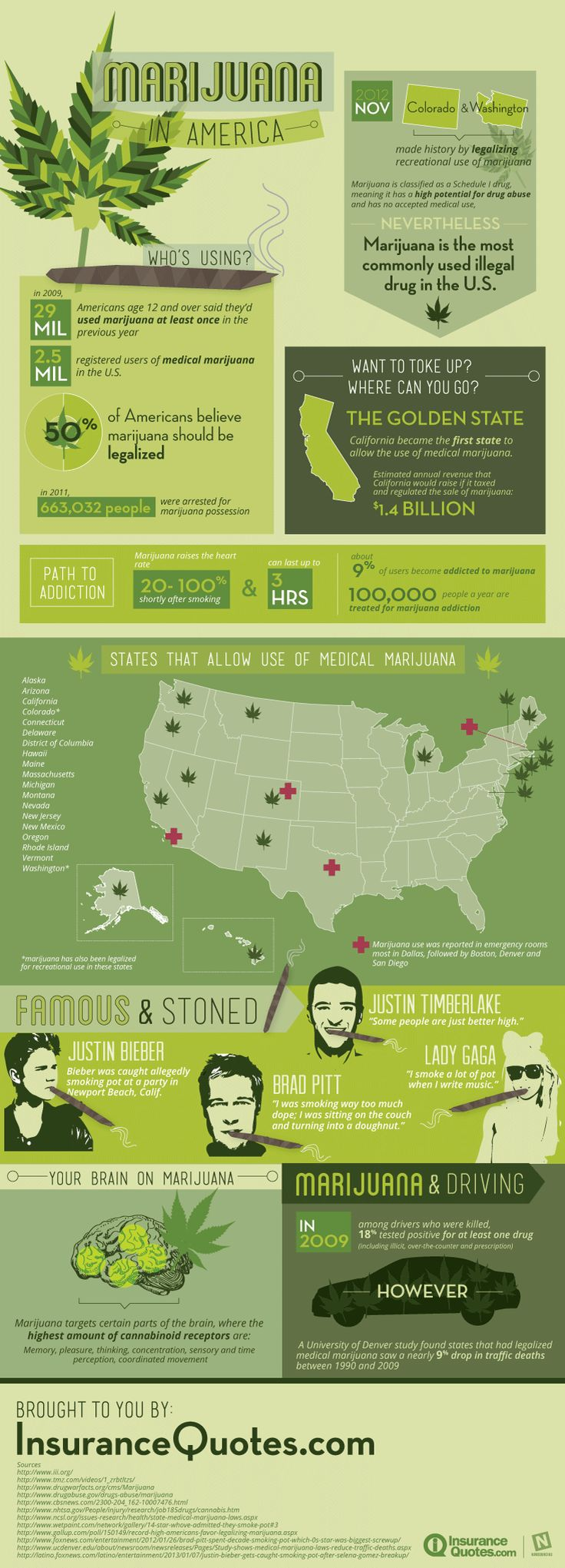 This infographic takes a look at marijuana in America. More specifically, who's using it, and how its effects.