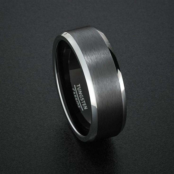 Tungsten Wedding Band Mens Ring Black Rings Brushed Matte