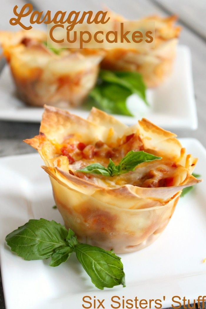 Easy Lasagna Cupcakes - The BEST way to eat Lasagna! - From Sixsistersstuff.com