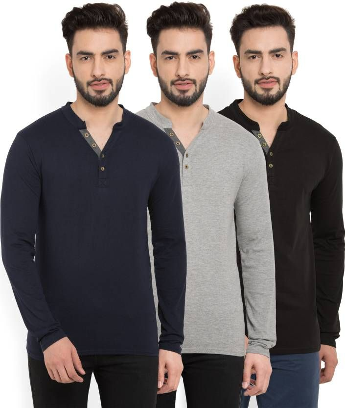 Billion PerfectFit Solid Men Henley Multicolor T-Shirt