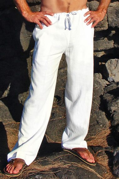 White Linen Riviera Pant for the groomsmen
