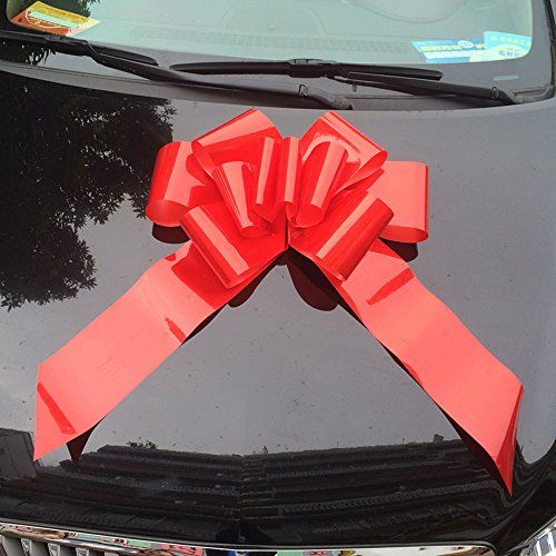 """SANIA 25"""" Red Bow - Make Your Gift Pop with that extra WOW factor – Large ribbon for Parties, Cars, Appliances - Surprise Decoration Wrap for Wedding, Party Decor, Special Gifts & Giant Presents - Big Sale Online Shopping USA"""