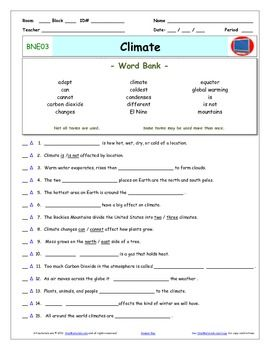 """Bill Nye - Climate  Worksheet, Answer Sheet, and Two Quizzes for Bill Nye - The Science Guy** Videos         ***** Preview is an full sample of a similar video.***** Differentiated Video Guides, Worksheets and Quizzes for Bill Nye - The Science Guy** Videos.This package includes eleven pages:      1- An Answer Key     2- A """"Word Bank"""" Video Guide     3- A """"Word Bank"""" Reusable Quiz     4- A """"Word Bank Individual Quiz     5- A Fill-In-The-Blank Video Guide     6- A Fill-In-The-Blank Reusable…"""