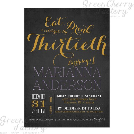 Typography Adult Birthday Invitation Eat by GreenCherryFactory