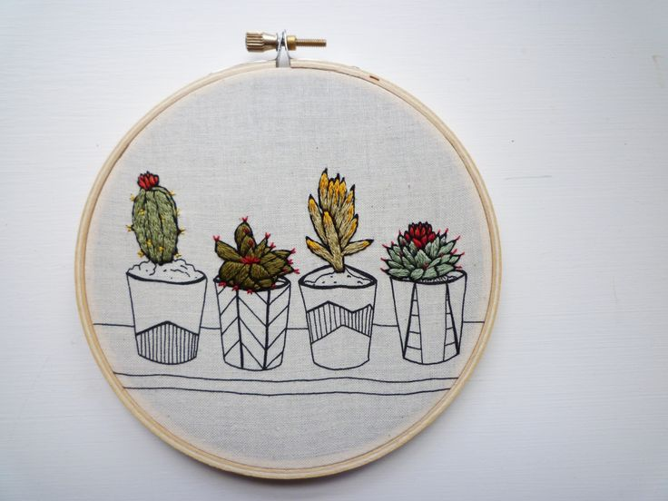 Embroidery Art 'Pots in a Row' 5 inch Stitch art by Cheese Before Bedtime | Felt