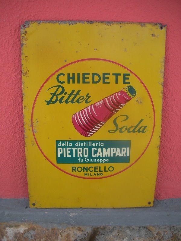 CHIEDETE BITTER SODA Tabella LITOGRAFATA Targa AUTENTICA 1960 Campari MILANO