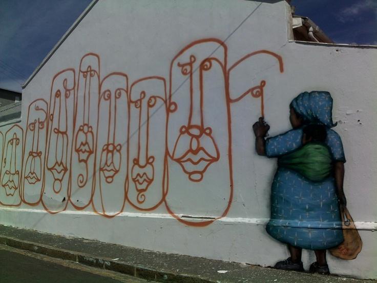 Graffiti in Cape Town , in a little side street .
