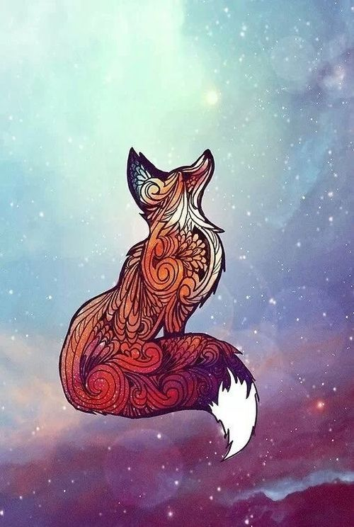 Aztec tattoo fox on galaxy background