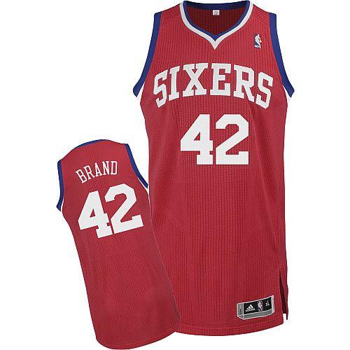 Philadelphia 76ers Elton Brand 42 Red Authentic Jersey Sale