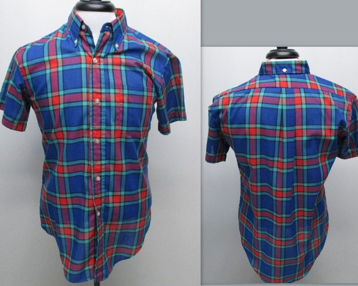 Vintage 70s Men's Plaid Shirt, Mens Short Sleeve Shirt, 70s Rockabilly Shirt by RosasVintageFinds on Etsy