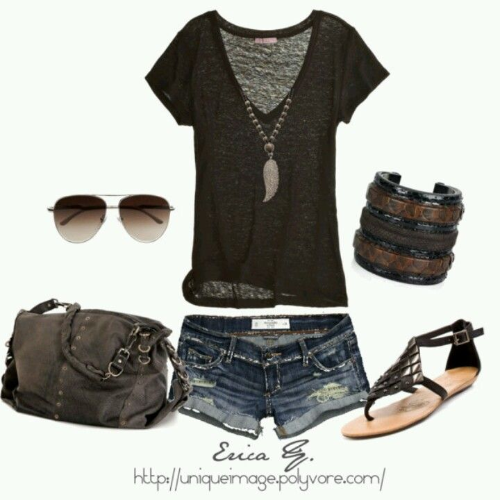 Edgy cute summer outfit find more women fashion ideas on www.misspool.com                                                                                                                                                     More