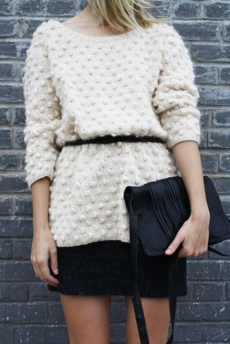 Another great look at belting an oversized sweater, but this time it's dressed up a little. A great way to get some extra mileage out of your favorite little black dress, without losing your great shape.