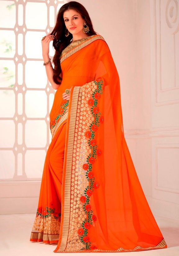 Tangy Orange and Beige Marble Chiffon Saree  https://www.ethanica.com/products/tangy-orange-and-beige-marble-chiffon-saree