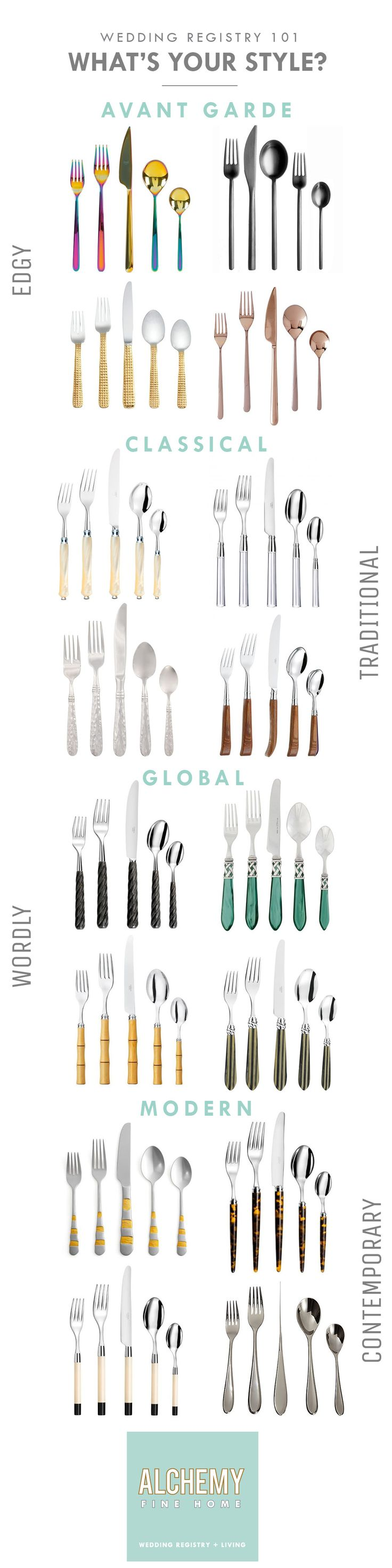 Not sure what Flatware to register for your wedding? Let us help! Take our Alchemy Fine Home Wedding Registry Style Quiz to learn more about your bridal style to help design your Wedding Registry or be inspired by some of our favorites seen here!   https://alchemyfinehome.com/pages/style-quiz
