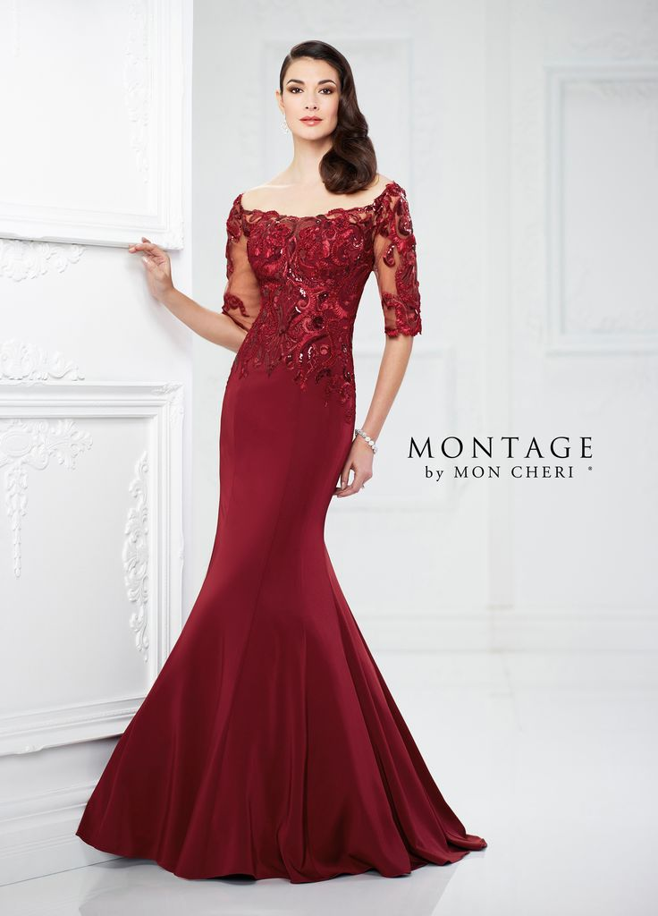217937 - Satin and lace mermaid gown with illusion lace three-quarter length sleeves, front and back wide scoop necklines, lace bodice with sequin accents and slightly dropped waist, sweep train.