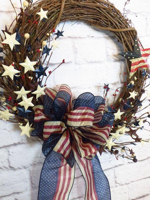 Patriotic Wreath Patriotic Grapevine Wreath by Dazzlement on Etsy
