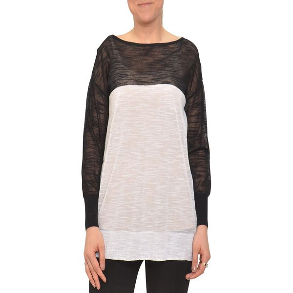 Colorblock sweater/long T  Bellario Women's Black and White Longsleeve Sweater - Overstock Shopping - Top Rated Long Sleeve Shirts