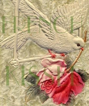 DIGITAL scan White Bird  with PINK Rose Dove French antique postcard by FrenchKissed for $3.49