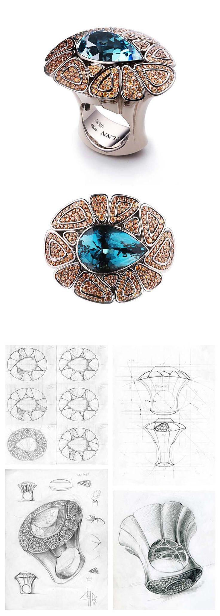 "VLAD GLYNIN jewellery - Ring ""Lake"", 2013. White gold, tourmaline, sapphires / Кольцо ""Озеро"", 2013 г. Белое золото, турмалин, сапфиры / Anello ""Lago"", 2013. Oro bianco, tormaline, zaffiri"