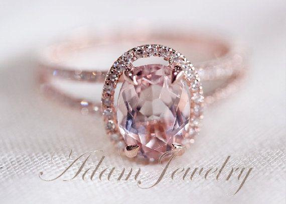 Halo Oval VS 6x8mm Morganite Ring/ Engagement Ring/ 14K Rose Gold Diamonds Wedding Ring/ Promise Ring/ Anniversary Ring