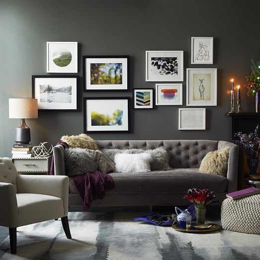Nailhead Nightstand | west elm (NOTE: low tufted sofa, nightstand with drawers as livingroom side table, wall of frames)