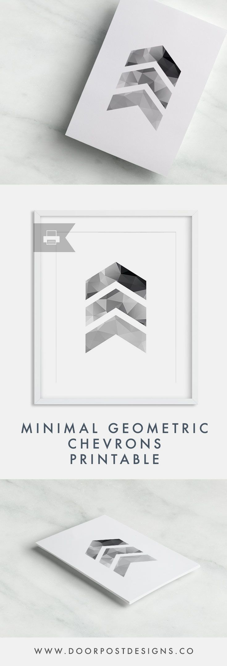 Minimal Geometric Chevrons Printable by Doorpost Designs // minimal art, geometric art, forest, printable, minimalism, triangleshome office, clean modern office, office inspiration, minimalistic, minimalism