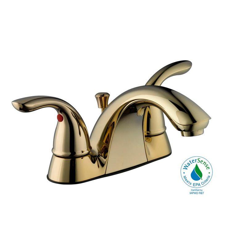 Glacier Bay Builders 4 in. Centerset 2-Handle Low-Arc Bathroom Faucet in Polished Brass
