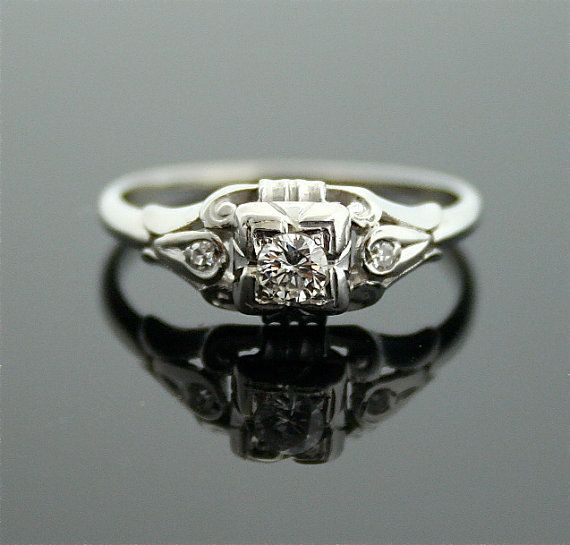 1930s Engagement Ring  White Gold and Diamond by SITFineJewelry