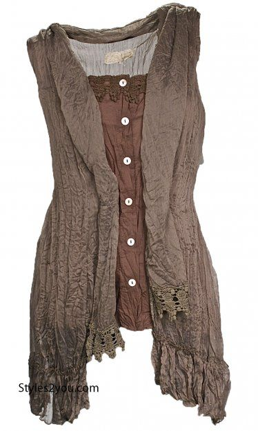abri vintage layered top cardigan in brown rags to