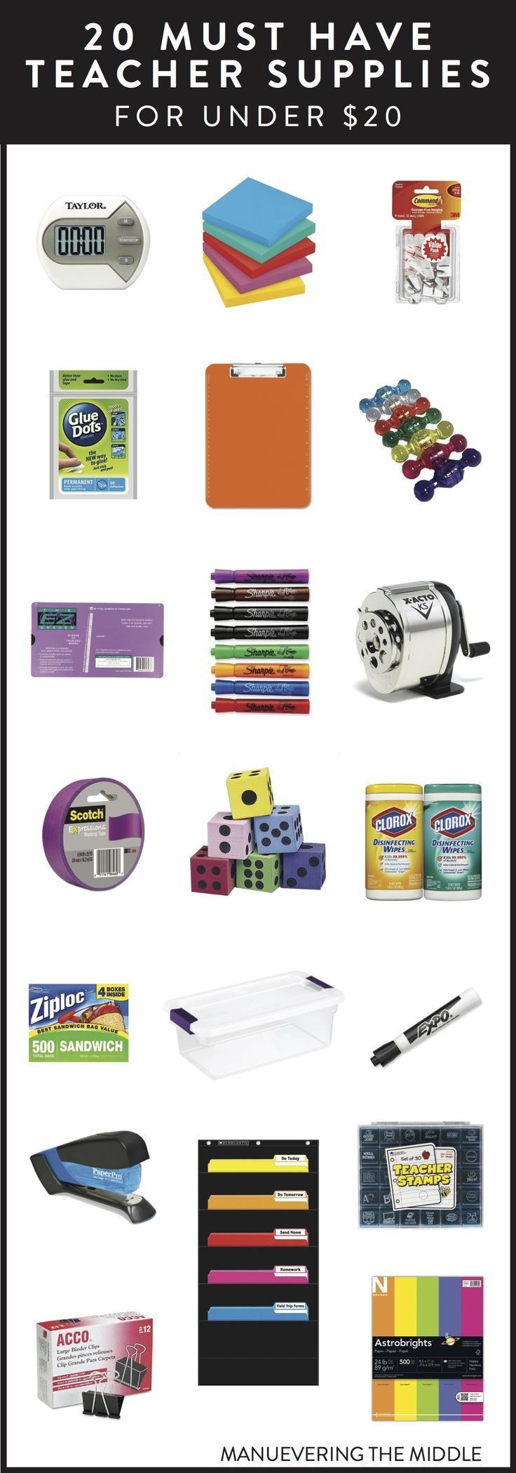 20 Teacher Supplies Under $20 - Must have school supplies to stock your classroom. | http://maneuveringthemiddle.com