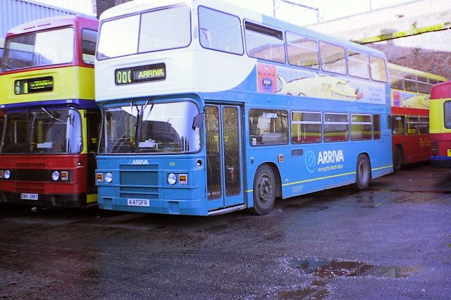 608 Arriva Manchester A147OFR Leyland Olympian ONXLB.1R Eastern Coach Works ex North Western new to Ribble. Hulme HAll Road Garage Dec98