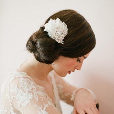 Twigs & Honey #233: Hair Ideas, Lace Hair, Embellishments Lace, Hair Clips, Petite Embellishments, Bridal Hairstyles, Hairclips, Hair Buns, Low Buns