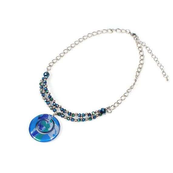 Papaya Crystal Swirl Necklace by NavyaOnline on Etsy
