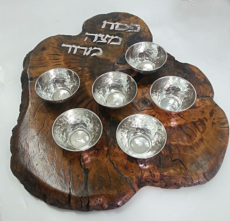 Passover plate combines a unique olive wood and sterling silver by STUBSILVERWARE on Etsy