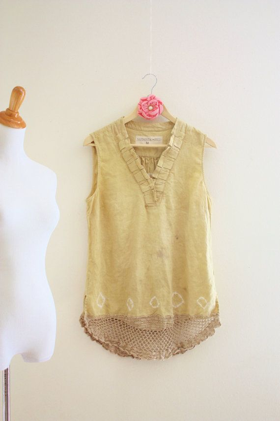 Tea stained top Hand Eco dyed upcycled shirt by SaidoniaEco