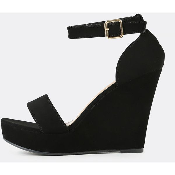 SheIn(sheinside) Single Band Ankle Strap Wedge Sandal BLACK (36 CAD) ❤ liked on Polyvore featuring shoes, sandals, black sandals, black ankle strap sandals, black high heel shoes, black wedge sandals and rubber sandals