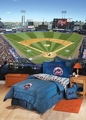 Baseball bedroom vinyl wrap on one wall!!!!