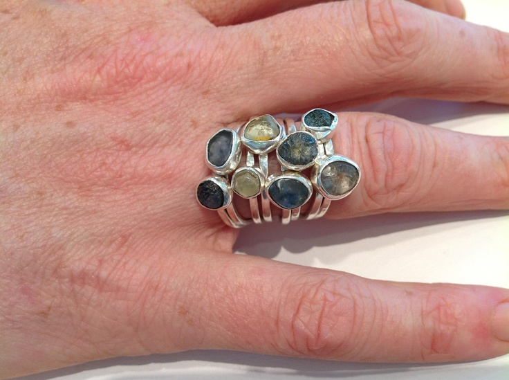 Sapphire crystal stacking rings designed by Karen Lipsett-Kidd from Crystalworks Gallery, Vancouver British Columbia.