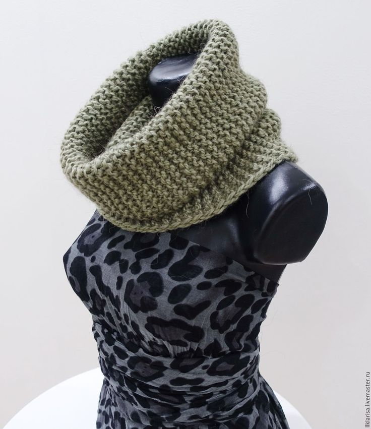 Купить снуд, шарф-хомут - хаки, снуд вязаный, снуд спицами, снуд шарф хомут