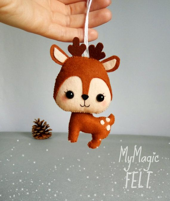 Felt dear woodland decorations nursery animals Fores deer toy felt fawn Woodland friends gift for children