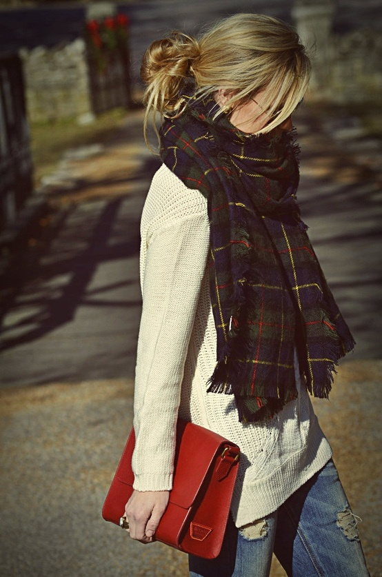 tartan scarf, rust suede bag, cream jumper, jeans