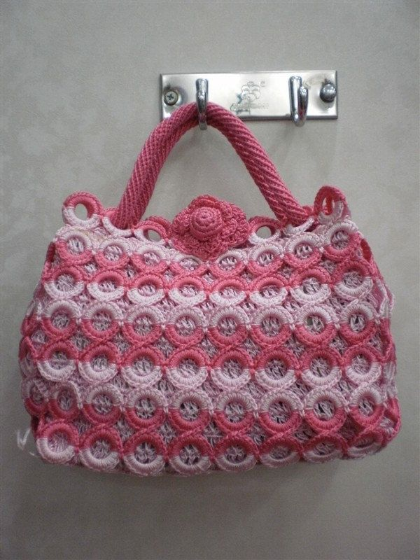 pink fashion handbag tote durable bag #Handmade #Crochet women  #@Af's 27/4/13