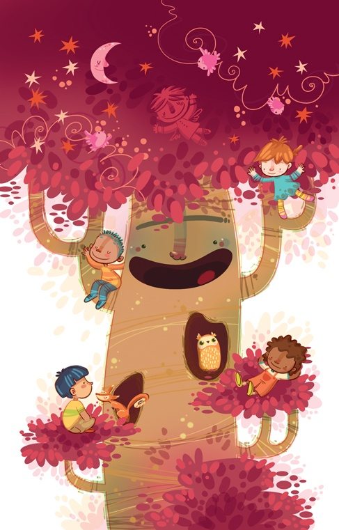 """Sueño giratorio"""" Receta para domar a un árbol by Lorena Álvarez. Illustrations for the book ""Recetario de Juegos"", a poetry book for children written by Carlos Marianidis"