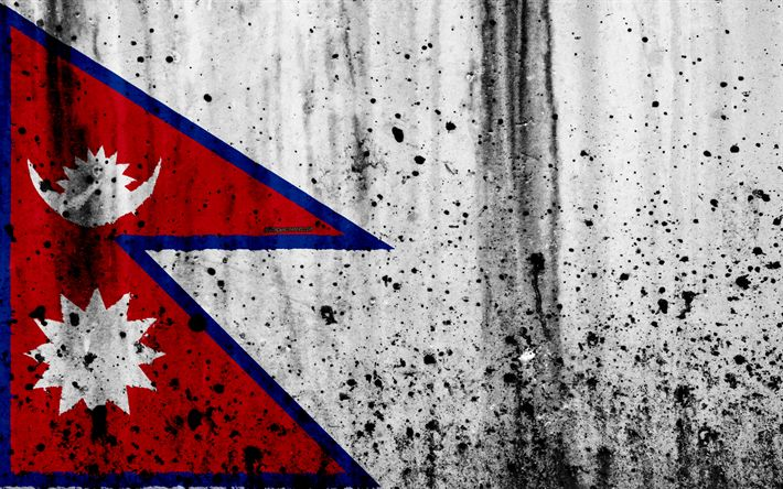 Download wallpapers Nepali flag, 4k, grunge, flag of Nepal, Asia, Nepal, national symbols, Nepal national flag