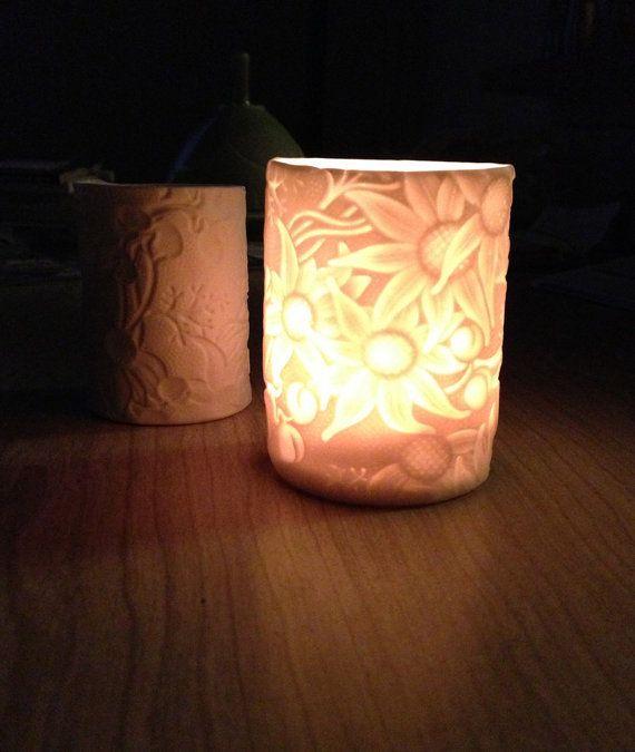 Porcelain Australian Flannel Flower Tealight Lantern. Made by Denise McDonald of DM Pottery. Available through Etsy. https://www.etsy.com/au/listing/129030130/porcelain-australian-flannel-flower