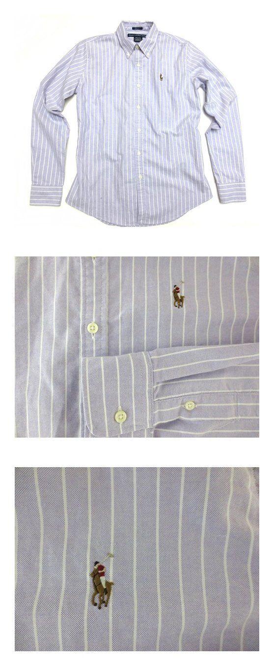 $59.99 - Ralph Lauren Sport Women's Oxford Shirt in Purple, White, Multi Pony Purple White Striped #ralphlauren