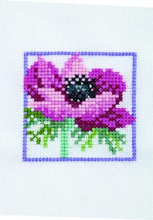 An Elegant Anemone, designed by Lesley Teare,selected from the January 2013 issue of @Cross Stitch Collection.